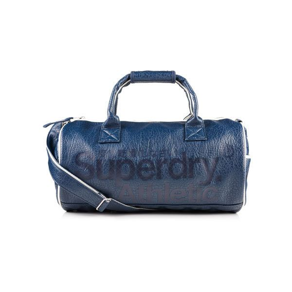 Superdry Athletic Barrel Bag (£61) ❤ liked on Polyvore featuring bags, handbags, shoulder bags, navy, quilted shoulder bag, navy blue leather purse, blue shoulder bag, navy leather purse and leather handbags