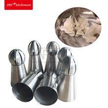 7 pcs Bola Esférica de Aço Inoxidável Russa Conjunto de Confeiteiro Piping Bicos Pastry Dicas de decoração do Queque Flor Rosa Decoração Dicas JG0007B(China (Mainland))