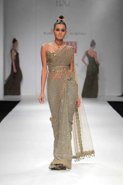 rabani and rakha brown and gold sari