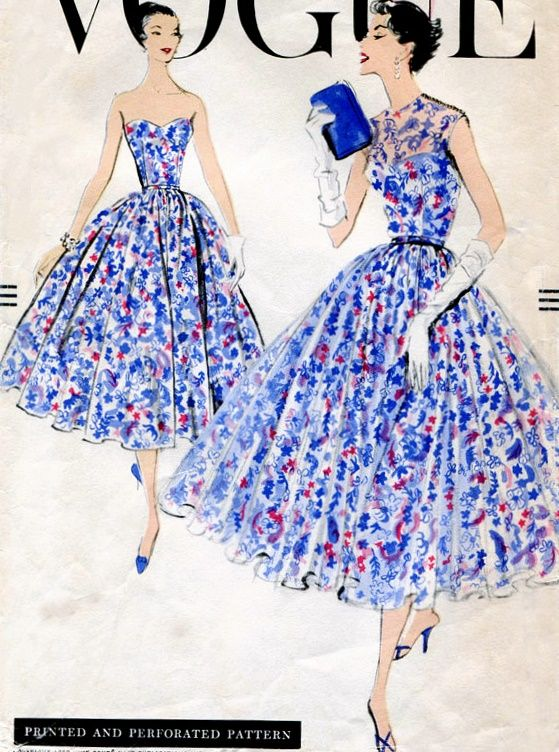"""Vogue 9079; ©1957; One Piece Dress and Overdress. Four gored gathered skirt of dress joins bare top bodice at waistline. Wide, all around gathered, six gored skirt of overdress joins the sleeveless bodice at waistline. Collarless round neck-line. Add a photo to the gallery by clicking the """"modify"""" button below."""