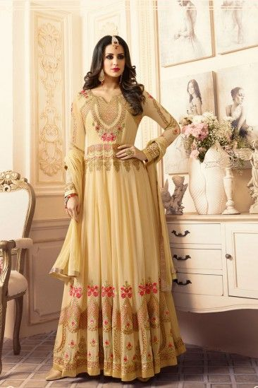 Stylish Light Yellow Georgette Anarkali Churidar Suit With Dupatta - DMV15385  #georgettesuits #anarkalisuits #salwarkameez #eid2018 #eidDresses