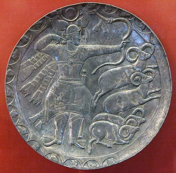 Sassanid plate depicting King Piroz during hunting - Peroz was the eighteenth king of the Sasanian Empire, who ruled from 459 to 484. Peroz  was the eldest son of Yazdegerd II (438–457)