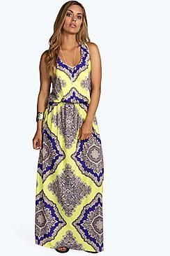 Plus Charlotte Neon Paisley Maxi Dress