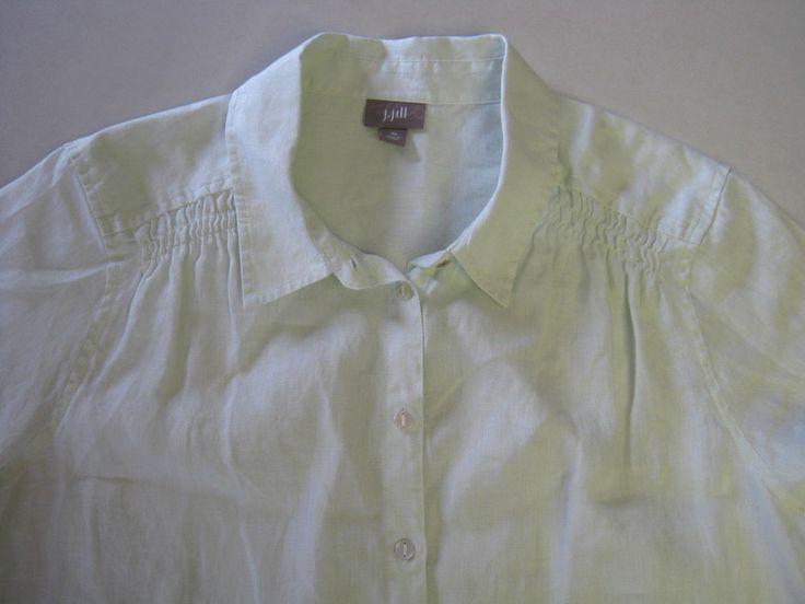 J Jill Shirt XL SS Short Sleeve Pale Green Womens