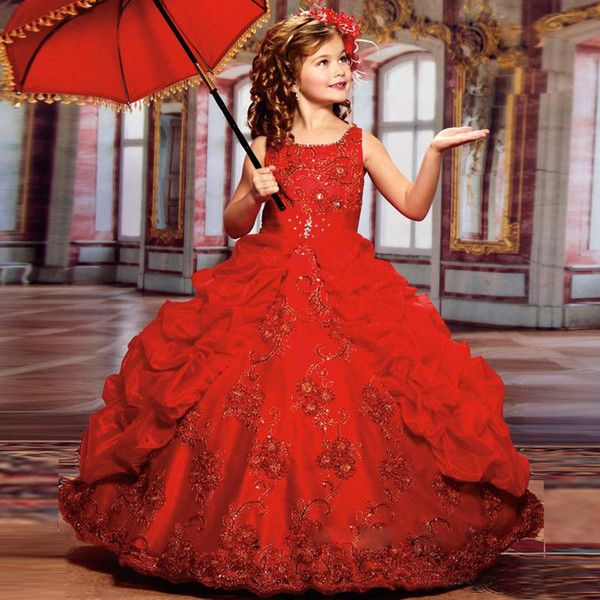 2017 New Sparkly <b>Girls</b> Pageant Dresses For Teens Red Ball Gown ...