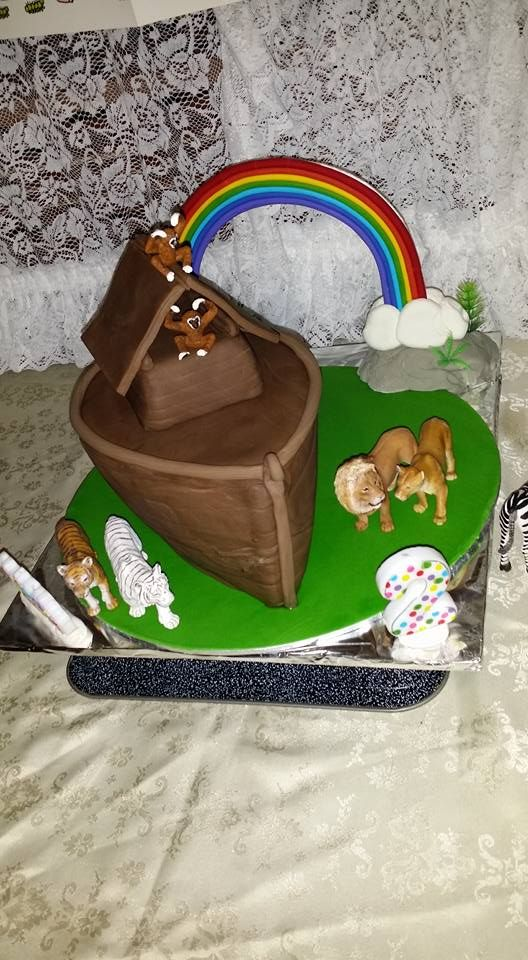 "Noah's ark cake for the 4th born madame when she turned 2 <3 we themed two by two / Noah's ark and she loved this cake and the ""Waaaaainbow!!"""
