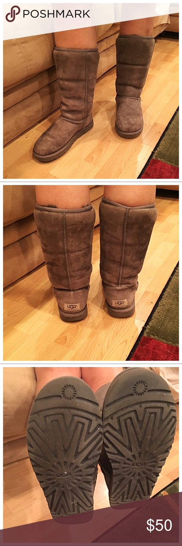 Tall Grey Uggs Preloved but good condition! Size W7. UGG Shoes Winter & Rain Boots