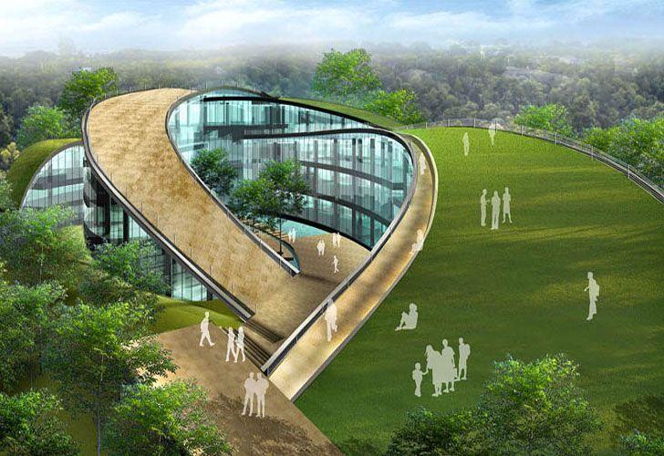 A swirling green roof towers over the beautiful Nanyang Technical University in Singapore – RUYA ÖZTÜRK – #Dach #the # one # green #Nanyang