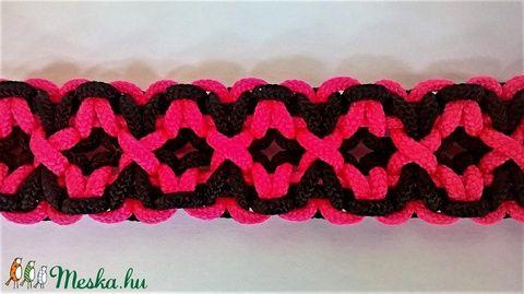 Pink-fekete rácsos mintájú paracord karkötő (particulARTist) - Meska.hu