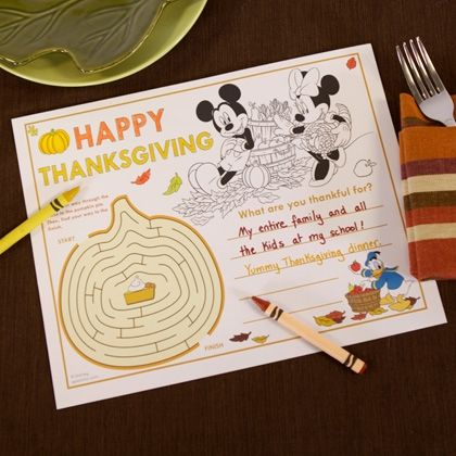 This placemat is full of activities that will keep kids occupied until Thanksgiving dinner is served.