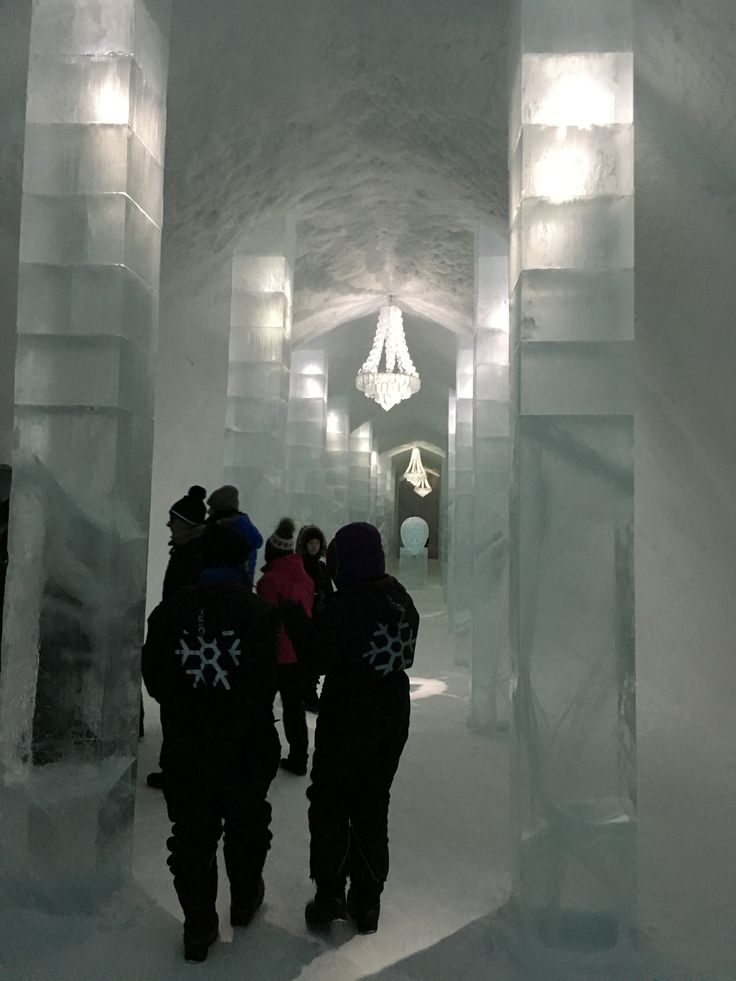 Ice Hotel lobby with chandeliers