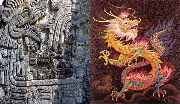 """Deidad Maya y Azteca """"Quetzalcóatl"""", """"Kukulcan"""": Serpiente Emplumada, junto  a Dragón Chino.   Mayas y aztecas, Dragones, Aztecas"""