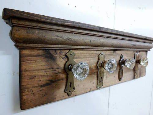 Coat rack made from decorative door knobs & back plates #DIY