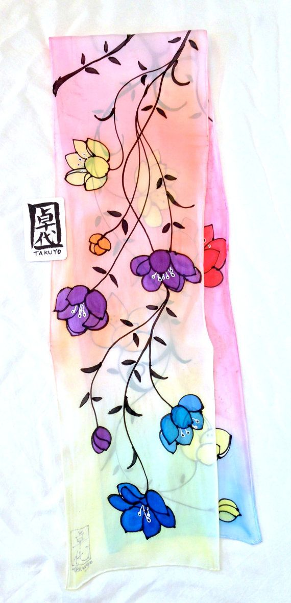 Silk Scarf Handpainted Gift for her Anniversary gift  Over