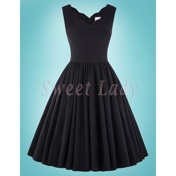 Jednoduché čierne šaty v štýle vintage