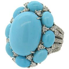 Large Turquoise Diamond Gold Ring