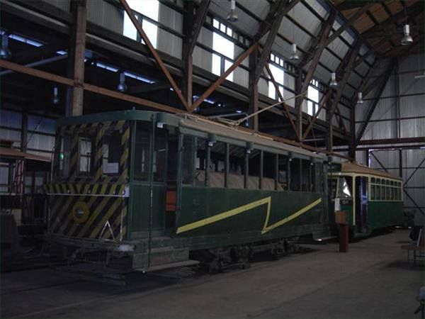 """Ballarat Tram No. 23, a 1913 Sebastopol car, later converted to a """"scrubber"""". Now at the Tramway Museum Society of Victoria collection at Bylands."""