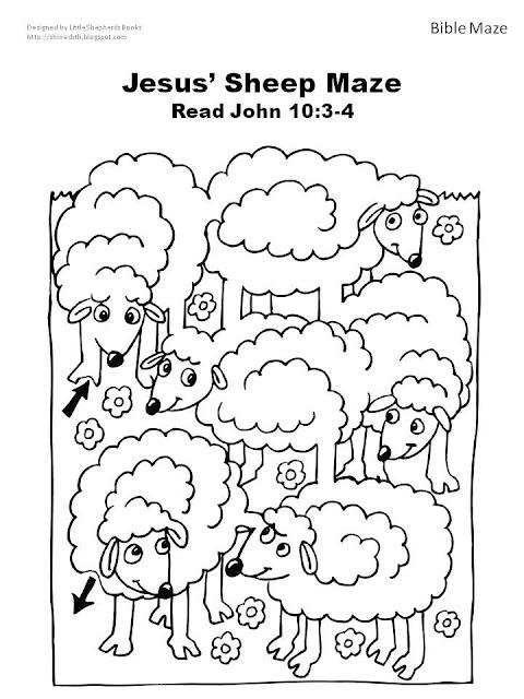 Bijbel schapen doolhof bij het verhaal van de goede herder? Of het verloren schaapje? // Bible Sheep Maze. Use with Jesus the good shepherd or the lost sheep?