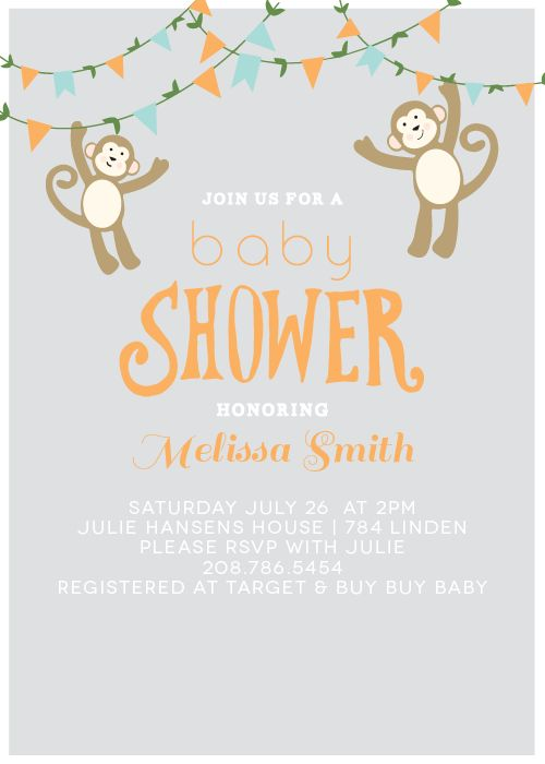 Monkeyu0027N Around Baby Shower Invitation Is A Fun And Easy To Customize  Invite.