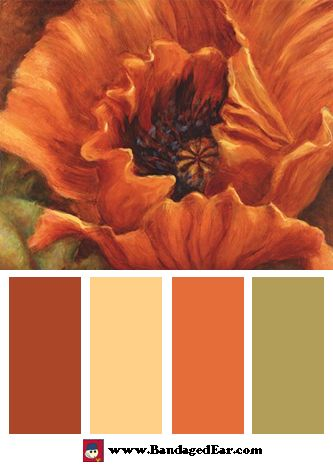 Orange Color Palette: Orange Poppy, Art Print by Nicole Etienne...Maybe a good color scheme for the outside of the house