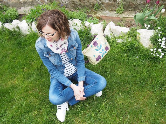jeans, striped tee and denimjacket