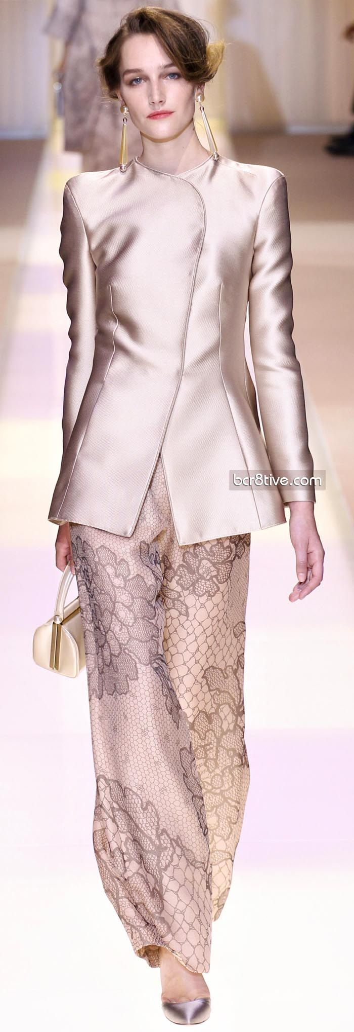 Chantilly lace printed trousers - fabulous! Giorgio Armani Privé Fall Winter 2013-14 Haute Couture