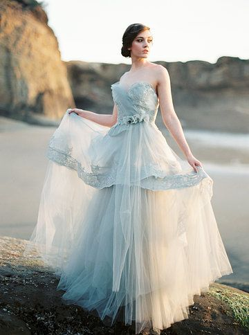 """Dress is """"Swansong"""" in grey by Claire LaFaye. Photo from Courtney Bryant collection by Erich McVey Photography"""