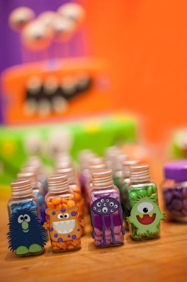 Cute favors at a Monster party! See more party ideas at CatchMyParty.com! #partyideas #monster
