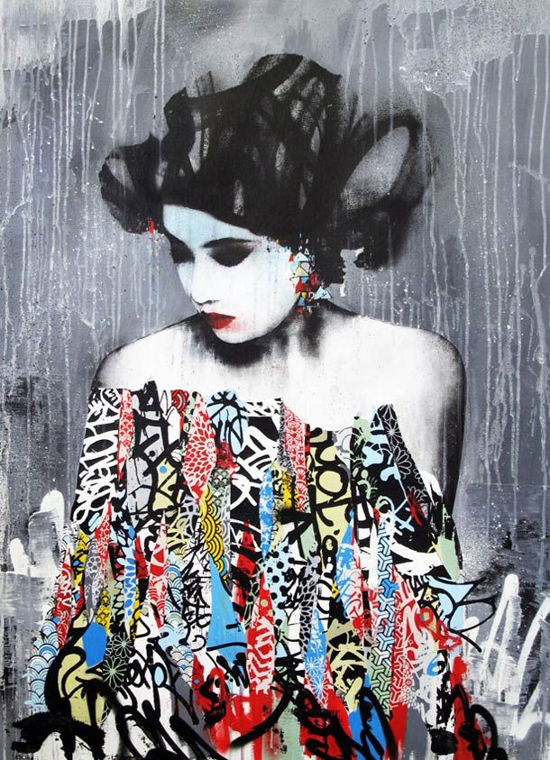 hush between geisha and street art vandalista pinterest geisha stencil painting and. Black Bedroom Furniture Sets. Home Design Ideas