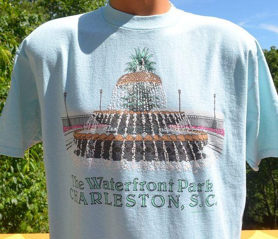 90s vintage t-shirt CHARLESTON water fountain park by skippyhaha