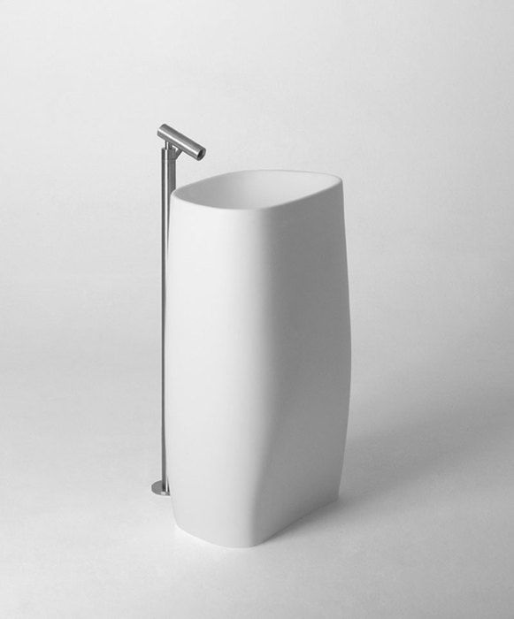 Pear column washbasin with Square wall mounted tap.