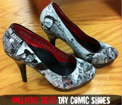 DIY Shoe covers. Ok, so I wouldn't do comic books, but some pretty scrapbook paper. What a great way to give new life to my old scuffed shoes!