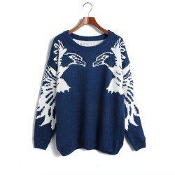 Vintage Scoop Neck Glede Pattern Batwing Sleeve Sweater For Women