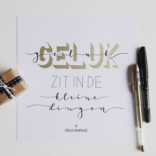 #dutchlettering challenge Dag6: Find joy in the simple things. Pennen: Pentel touch, Faber Castell fineliner en een gelpen goud van de Action #moetkunnen