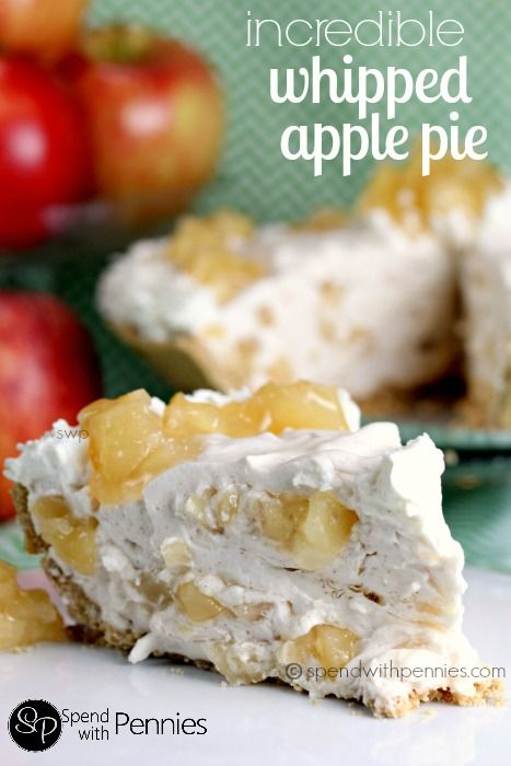 Incredible Whipped Apple Pie! (The perfect no bake dessert!) Love it? Pin it to SAVE it! Follow Spend With Pennies on Pinterest for more great recipes! We love apple pie at my house… I mean we really love it! Sometimes you just don't feel like heating up the oven… and this is the perfect no bake apple pie to satisfy the craving! This pie has a deliciously apple-y filling that is rich and creamy yet still so light! The taste  {Read More}