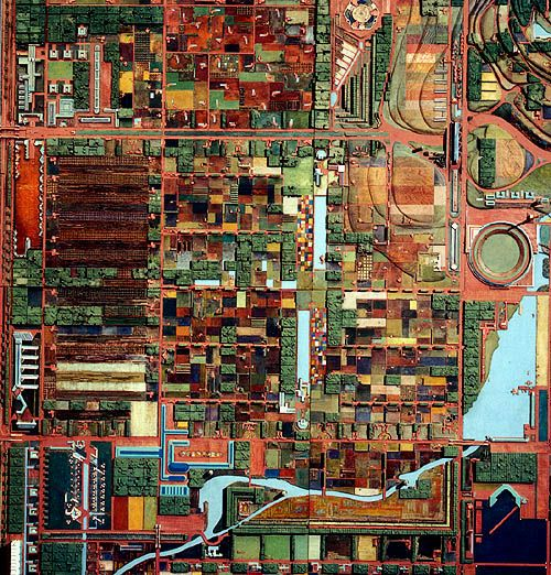 Broadacre City model ~ In 1932, Frank Lloyd Wright authored an essay entitled The Disappearing City in which he proposed a solution that he called the Broadacre City. This utopian concept was not a formal commission, but rather one of his many organic concepts of architecture that he envisioned.