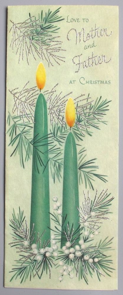 Vintage Greeting Card Christmas Candles Gilt Pine Mid-Century Norcross L20