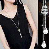 Amazon Mode Honel Lange Halskette Damen Elegant Perlen Anhänger Kette Halsband Geschenk Pullover Kette ,Silber: Anlass:…%#Quickberater%