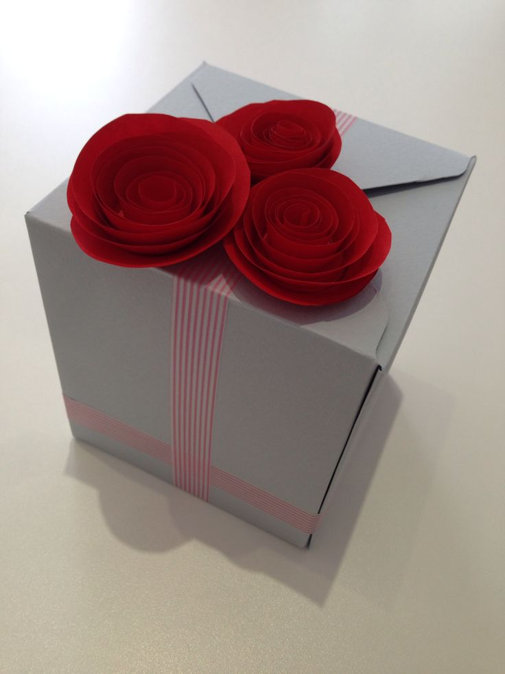 Envelope punch board. A box with roses for a gift