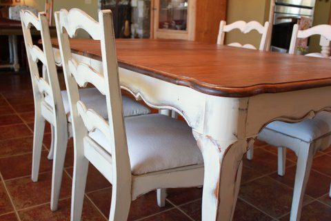 French Country Dining Table and Chairs Cream White Two-tone Wood Ladderback Annie Sloan Distressed