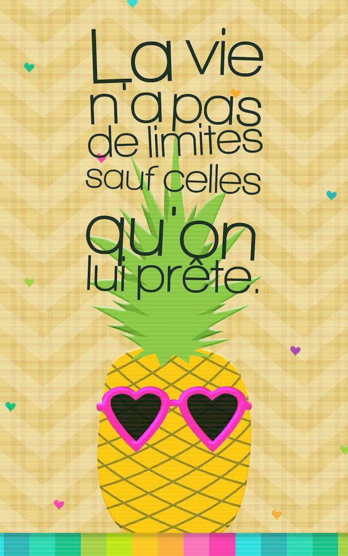 citation courte, image digitale multicolore avec silhouette ananas, fruit aux lunettes de soleil, fond d'écran iphone