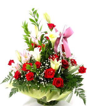 Affectionate: 19 red roses, 2 white lilies, 2 pink lilies - send flowers basket say hello, China flowers delivered