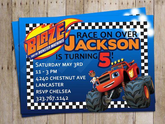 Blaze and the Monster Machines Birthday Party Theme Invitations Custom Invitations LittleWeekendShop