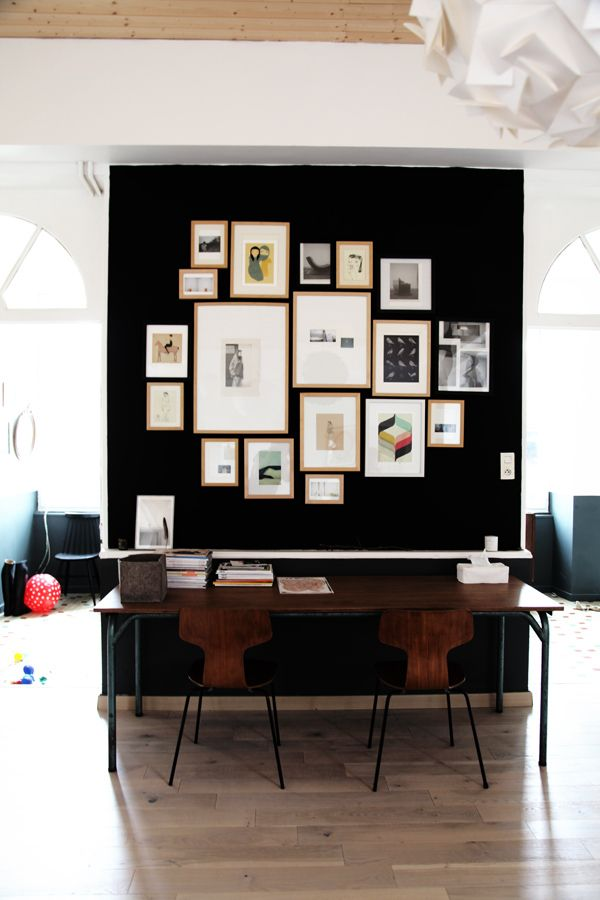 black wall office space
