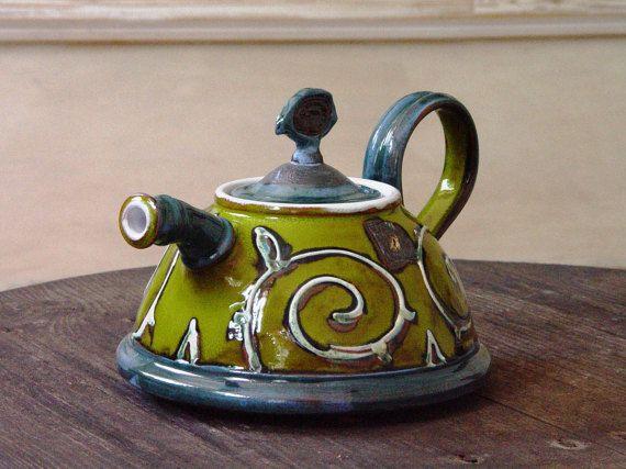 Green Ceramic Teapot Handmade Pottery Tea Pot Hand Painted Etsy Ceramic Teapots Pottery Teapots Pottery Tea Pot