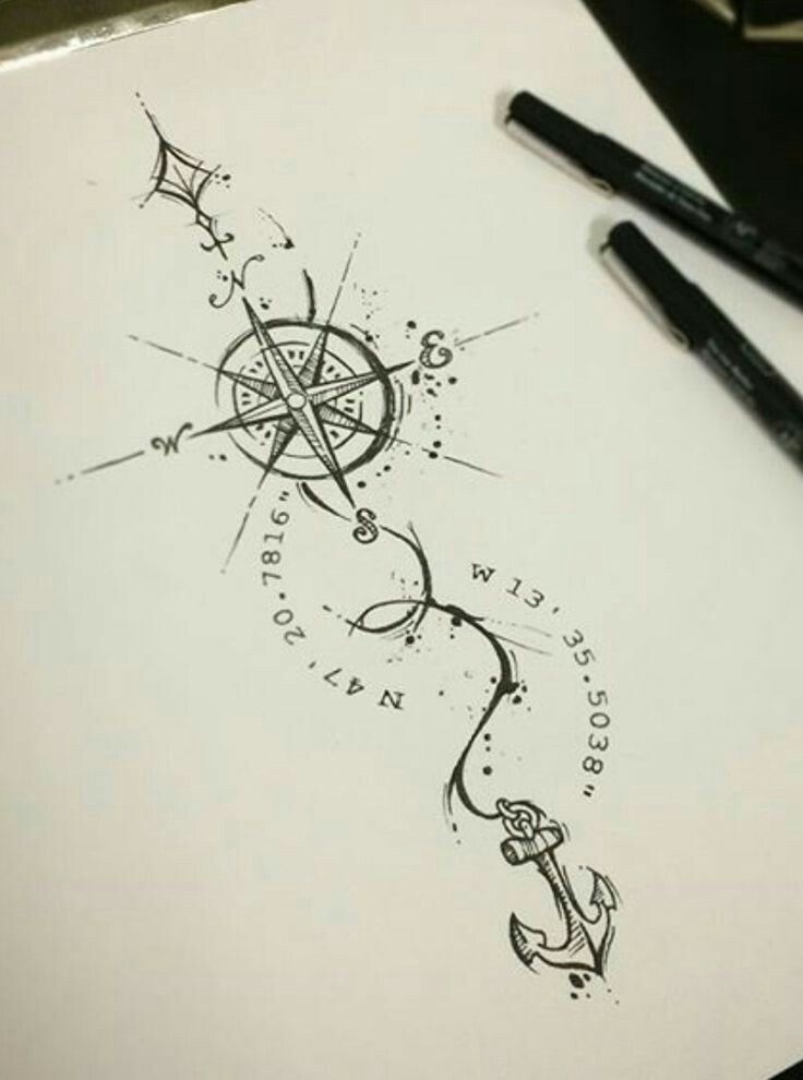 Compass tattoo design | tattoos | Pinterest | Compass tattoo ...