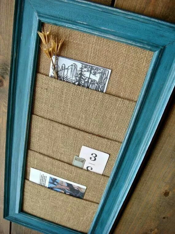 "This could be a cute ""clutter catcher"" in a room or the hallway. We could print, paint or stencil on words for each section, like ""bills,"" ""outgoing mail,"" etc; or names of each person in house for their own personal pocket. :o)"