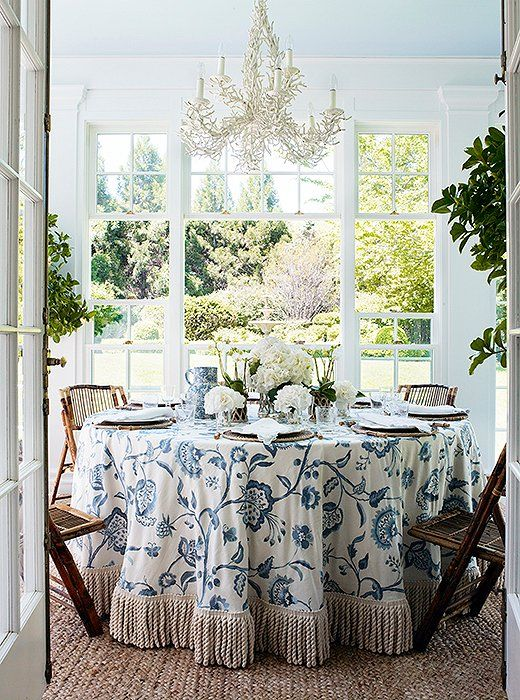 The fringe trim on this glam skirted table only adds to its elegance.