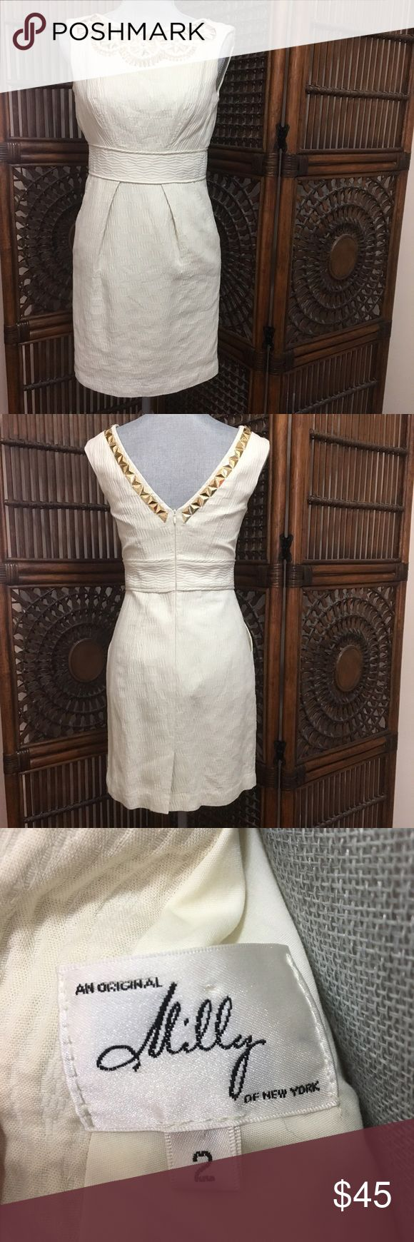 """Milly cream cocktail dress with beading Milly cream cocktail dress with gold and white beading. Textured cotton body in great condition. Hidden back zipper. Beads are gold and white plastic and do show signs of wear, including some scratches. No beads are missing from what I can tell, but some are loose (see pics for wear). Price is reflective of wear. Approx measurements laying flat: length - 34.5"""", chest - 15"""", waist - 13.5"""" Milly Dresses"""