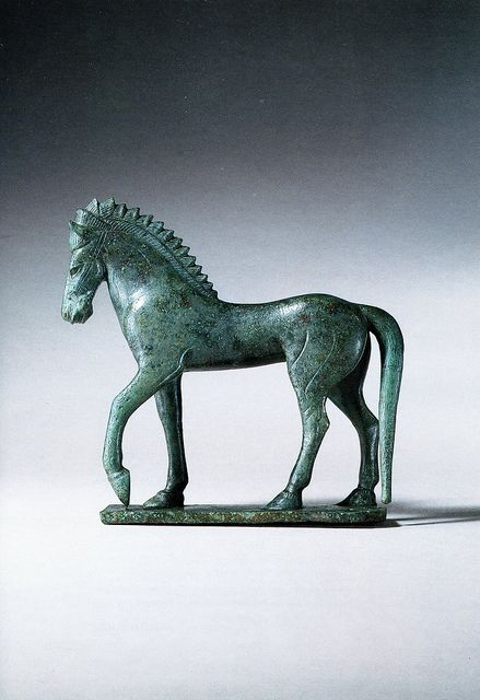 Etruscan Bronze Figure of a Horse Standing Upon an Integral Plinth.   Late Archaic, Late 6th/Early 5th century B.C.E.  Most probably from Vulci